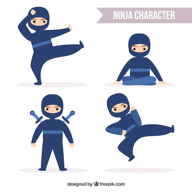 Flat ninja character collection in different\ poses