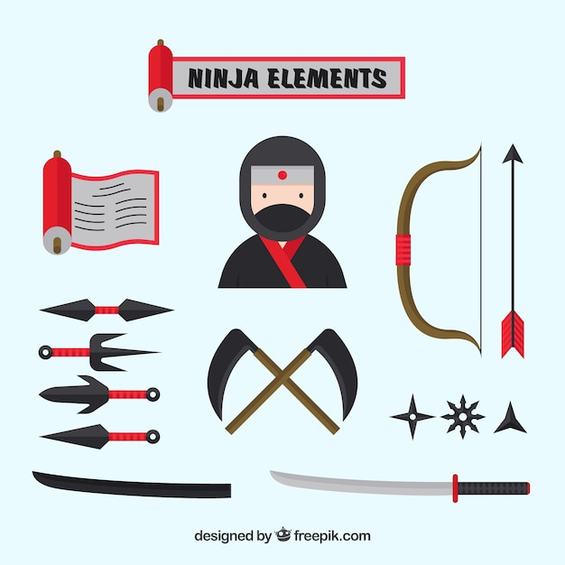 Flat ninja element collection