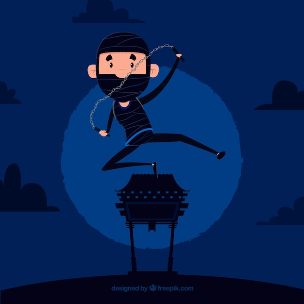 Flat ninja warrior on blue background