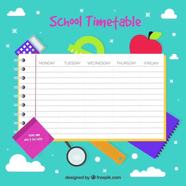Flat notepad school timetable template