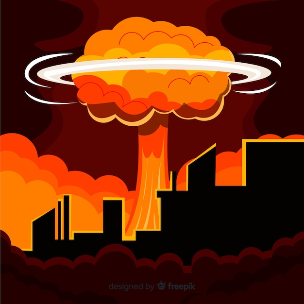 Flat nuclear bomb in a city Free Vector