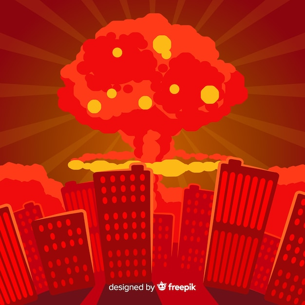 Плоская ядерная бомба в городе Бесплатные векторы