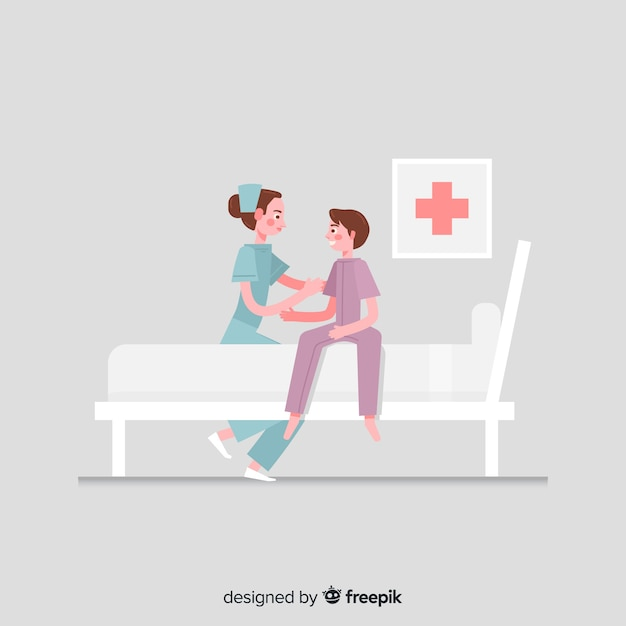 Flat nurse helping patient background Free Vector