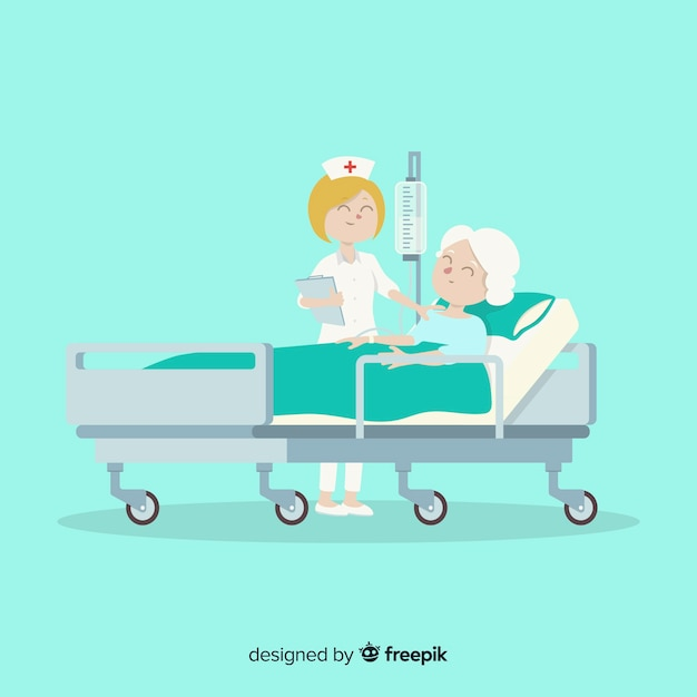 Flat nurse helping patient Free Vector