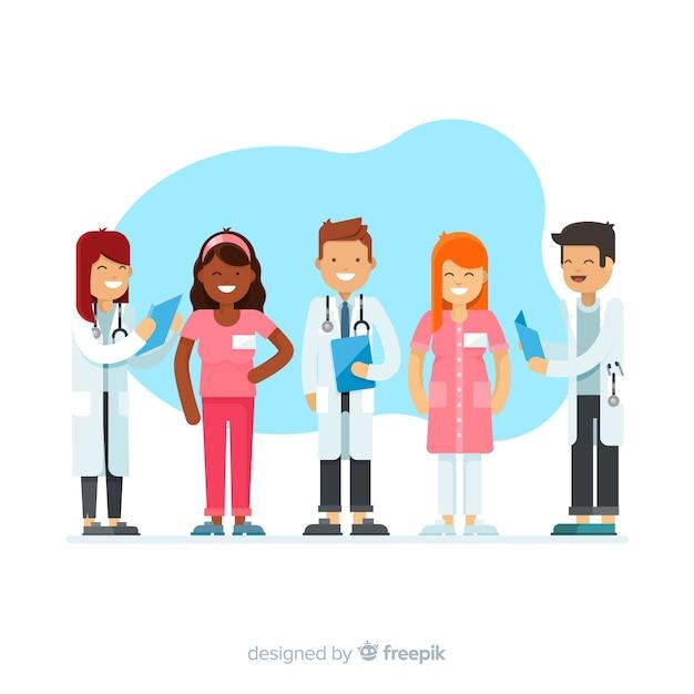 Flat nurse team background Free Vector