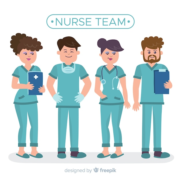 Flat nurse team Free Vector