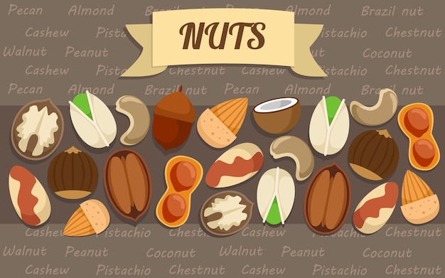 Flat nuts elements collection Free Vector