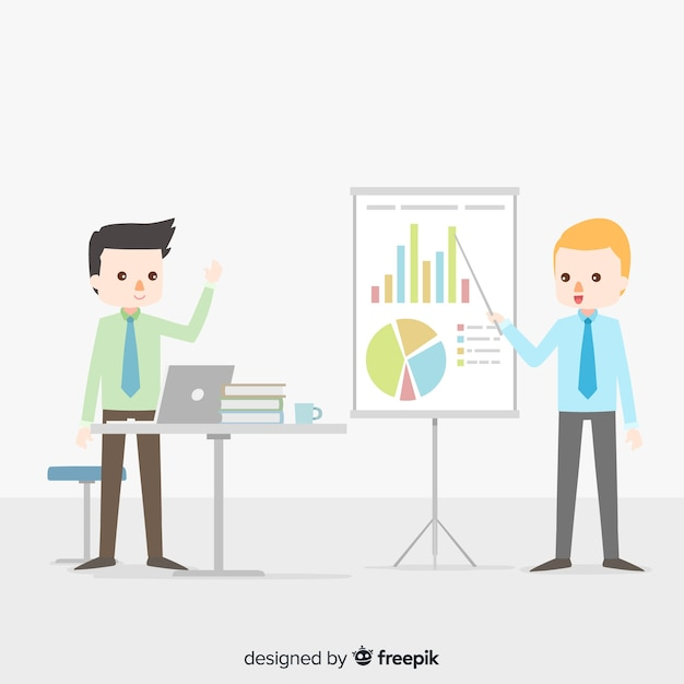 Flat office meeting background Free Vector