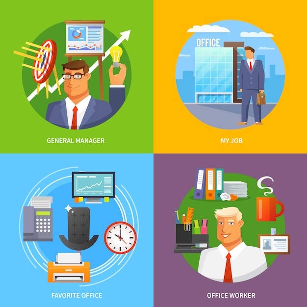 Flat office set Free Vector