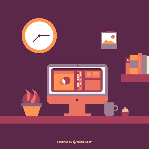 flat office table vector free download