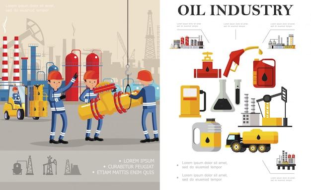 Композиция для нефтедобывающей промышленности с промышленными работниками бензовоз нефтехимический завод нефтяная вышка буровая установка канистры колбы бочки бензоколонка насос Premium векторы