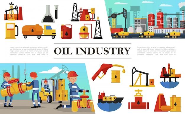 工業労働者とフラット石油産業構成燃料トラック石油化学プラント石油デリックリグタンカー船バレル充填ステーションガソリンポンプ 無料ベクター