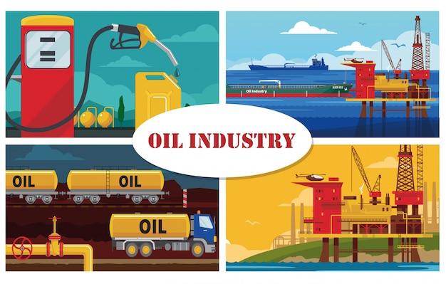 Концепция индустрии плоской нефти с платформой для буровых установок на воду Бесплатные векторы