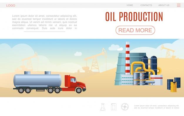 Modello di pagina web di industria petrolifera piatta con siluette di impianti di perforazione di barili di impianti petrolchimici di camion cisterna Vettore gratuito