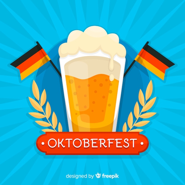 Flat oktoberfest background with a beer mug Free Vector