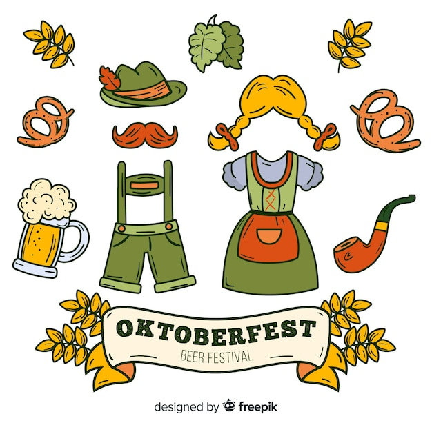 Flat oktoberfest element collection with clothes Free Vector