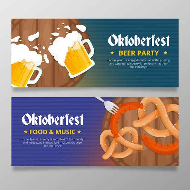 Плоские баннеры фестиваля октоберфест Бесплатные векторы