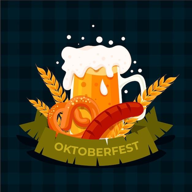 Плоский октоберфест еды и пива Бесплатные векторы