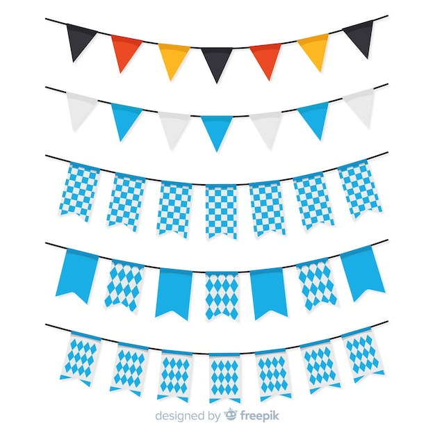 Flat oktoberfest garland collection with blue shapes Free Vector