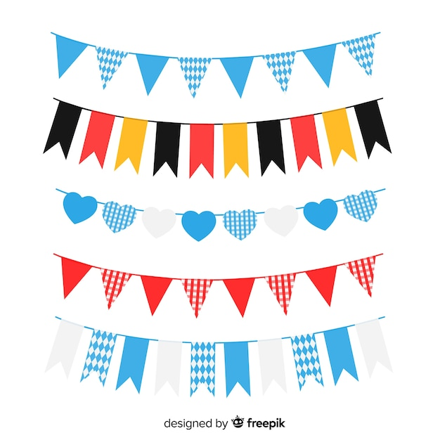 Flat oktoberfest garland collection with germany flag Free Vector