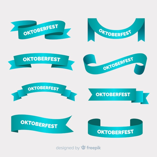Flat oktoberfest ribbon collection in blue shades Free Vector