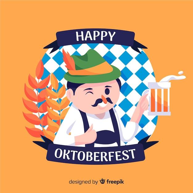 Oktoberfest piatto con uomo felice dando un brindisi Vettore gratuito