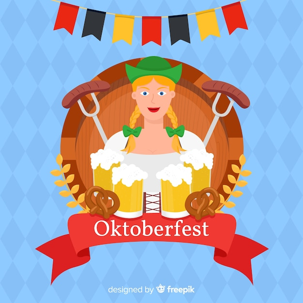 Flat oktoberfest with woman holding beers Free Vector