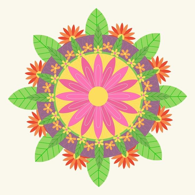 Decorazione floreale piatta onam Vettore gratuito