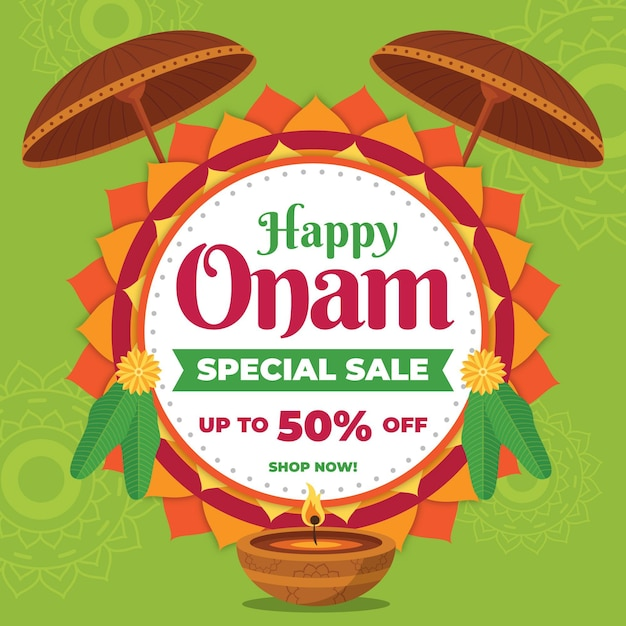 Flat onam sales background Free Vector