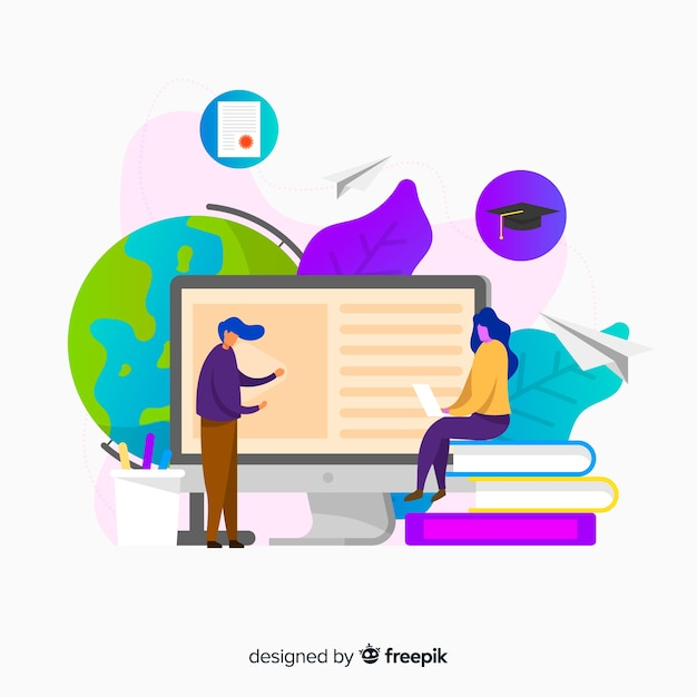 Flat online education concept background Free Vector