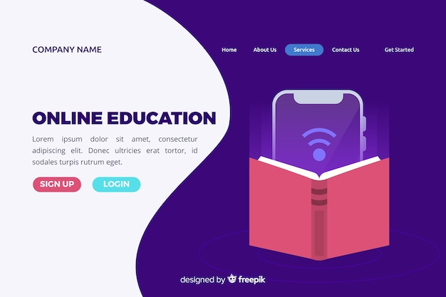 Flat online education landing page Free Vector