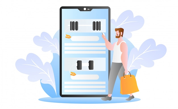 Flat online shopping illustration Premium Vector