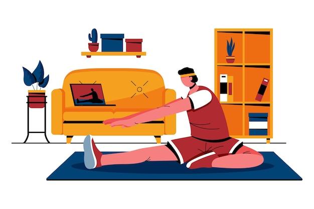 Illustrazione di classi di sport online piatto Vettore gratuito