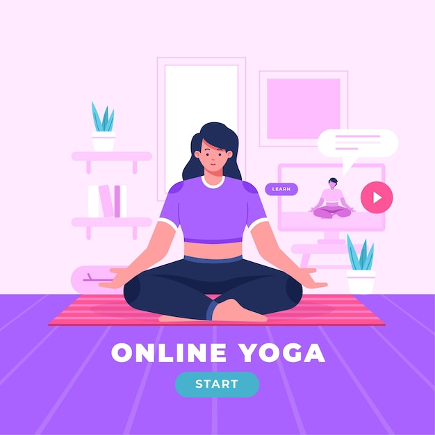 Flat online yoga class concept Free Vector