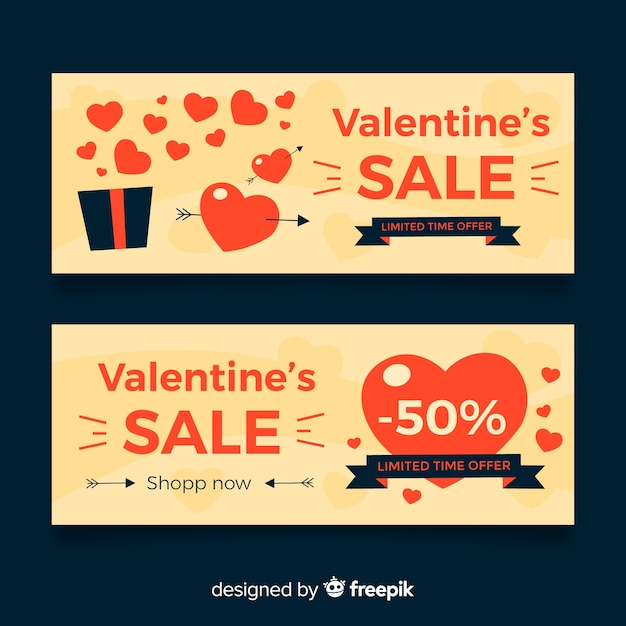 Flat open gift valentine sale banner Free Vector