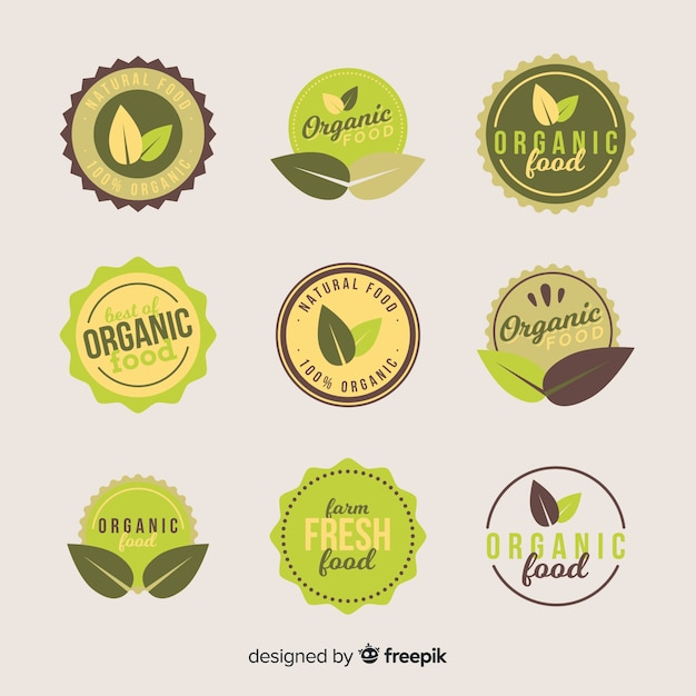 Flat organic food label collection Free Vector
