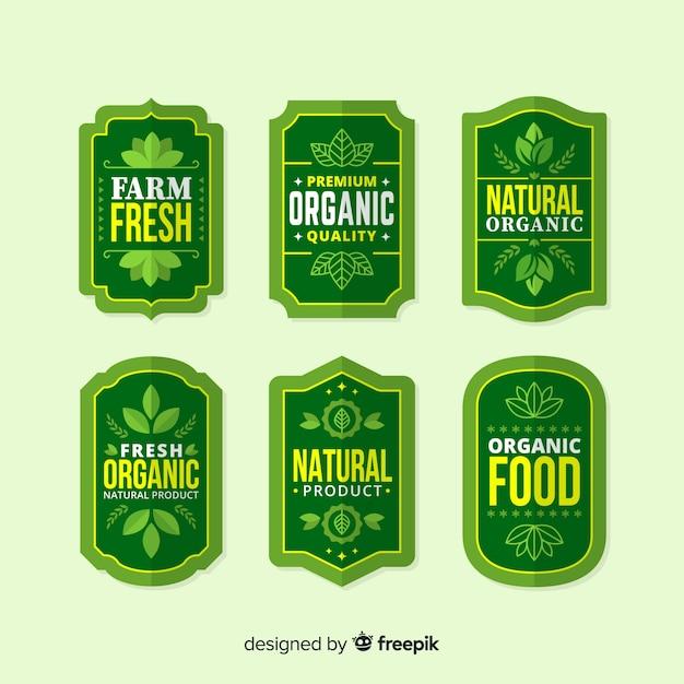Flat organic food label pack Free Vector