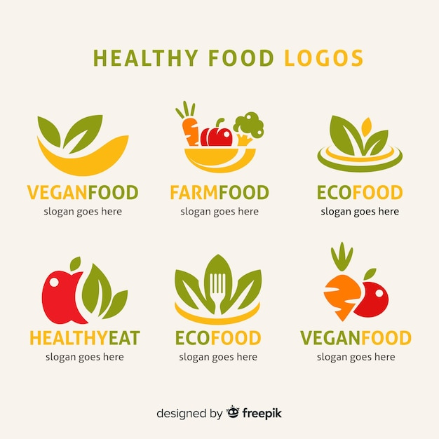 Flat organic food label set Free Vector