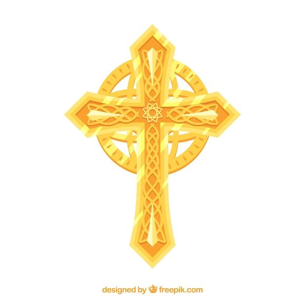 平らな装飾的な十字架 Premiumベクター