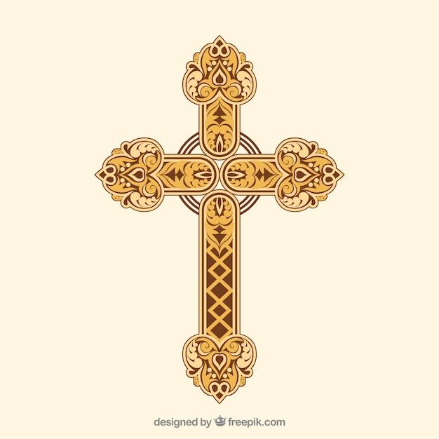 平らな装飾的な十字架 無料ベクター