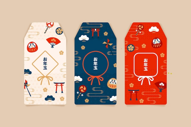 Modelli di otoshidama piatti Vettore gratuito