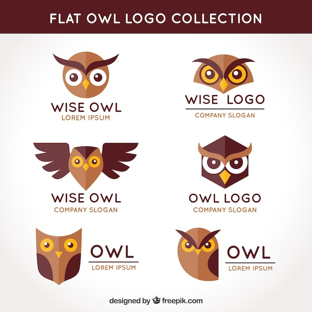 Flat owl logo collection Free Vector