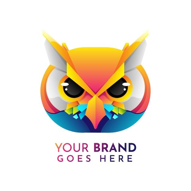 Шаблон логотипа flat owl Premium векторы