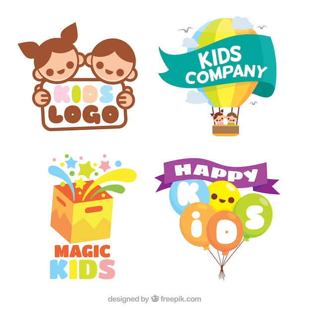 Flat pack of colorful kids logos Free Vector
