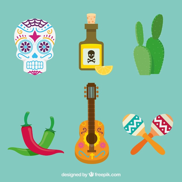Flat pack of fun mexican elements Free Vector