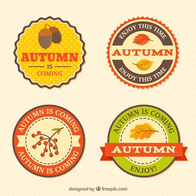 Flat pack of autumn badges