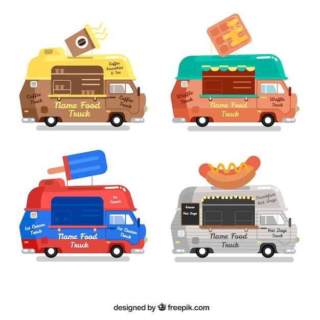 Flat Pack Of Classic Food Trucks Vector