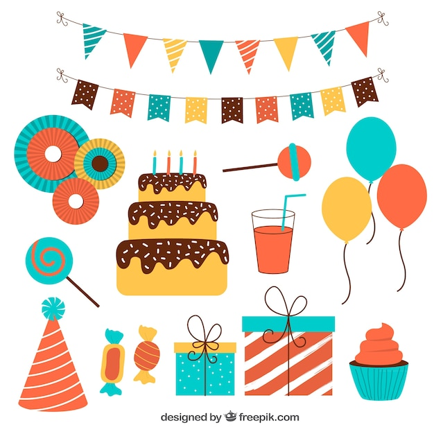 flat pack of colorful birthday ornaments vector free download
