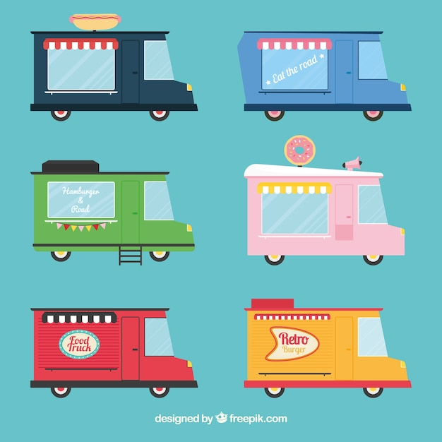 Flat pack of colorful food trucks