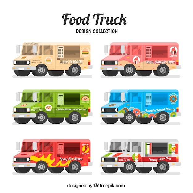 Flat pack of colorful food trucks